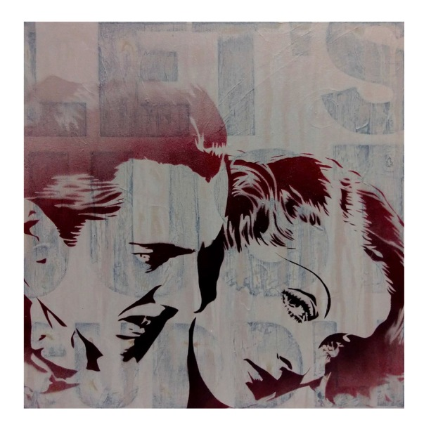 Bela Lugosi and Bette Davis in Acrylic and Spray Paint on Canvas