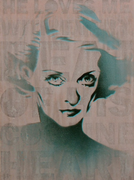 Bette Davis in Acrylic and Spray Paint on Canvas