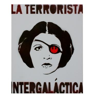La Terrorista Princess Leia in Acrylic and Spray Paint on Canvas